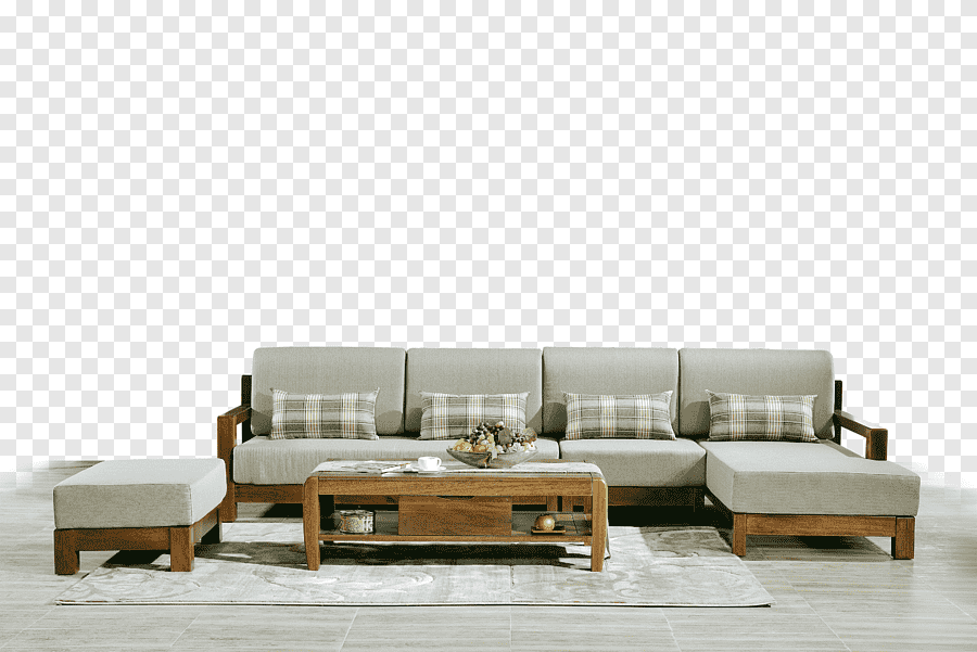 grey suede sectional couch with brown