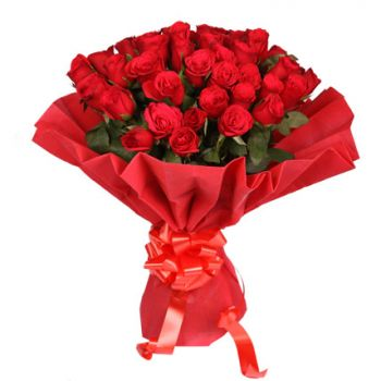 Dubai Ruby Red   Flower Delivery   24 Red Roses   FLOWER DELIVERY     Dubai flowers   Ruby Red Flower Bouquet Arrangement