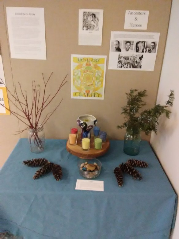 A Unitarian Universalist altar for children, from the UU Church of Columbia, Missouri. Image from https://uucomo.org/blog/2018/01/10/a-sacred-space-for-children-at-uucc/