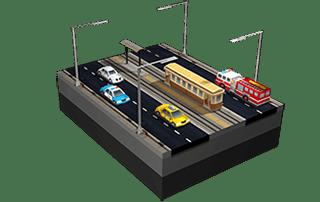 Avenidas com bonde em SimCity BuildIt.