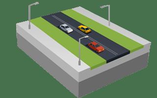 Estrada de duas pistas em SimCity BuildIt.