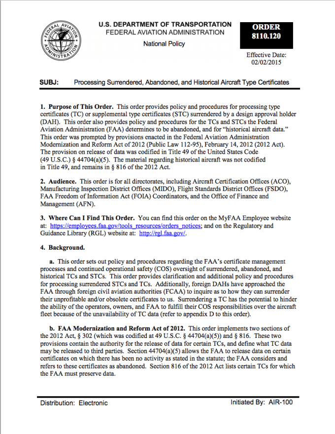 Faa Announces Update To 8110 120 Processing Surrendered Abandoned And Historical Aircraft Type Certificates Eaa Vintage Aircraft Association