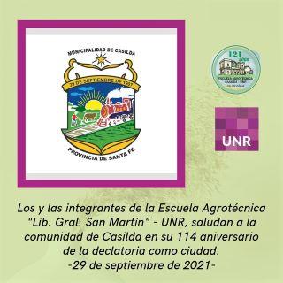 CASILDA, 114 ANIVERSARIO DE LA DECLARATORIA COMO CIUDAD.