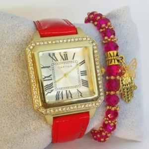 Montre Classique Rouge avec Bracelet Khmissa Montre + Bracelet boite Cadeau