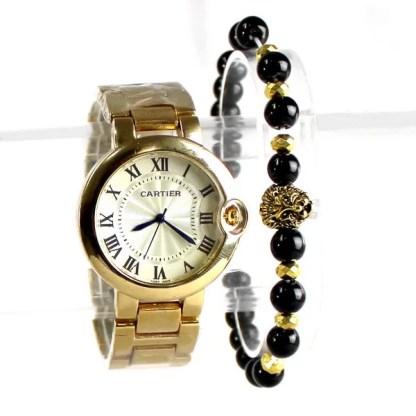Montre Cartier Dorée Ballon Bleu avec Bracelet Lion