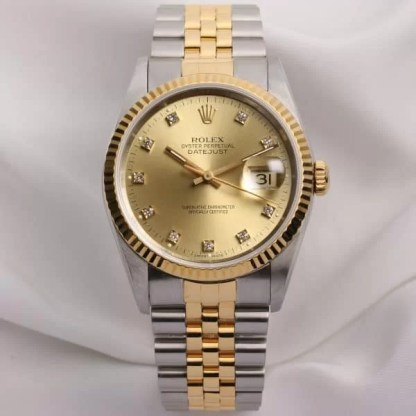 Rolex-DateJust-16233-Steel-Gold-Champagne-Diamond-Dial-Second-Hand-Watch-Collectors-1