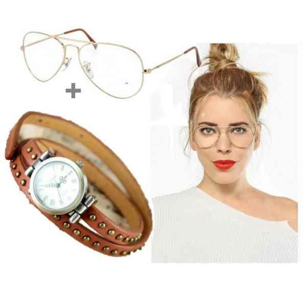 Montre Bracelet Cuir Marron + Lunette Transparent