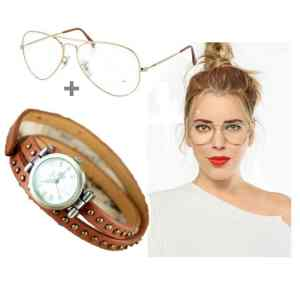 Montre Bracelet Cuir Marron + Lunette Transparent