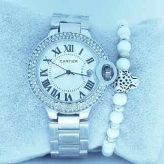 Montre Cartier Argenté avec Bracelet Leopard Blanc