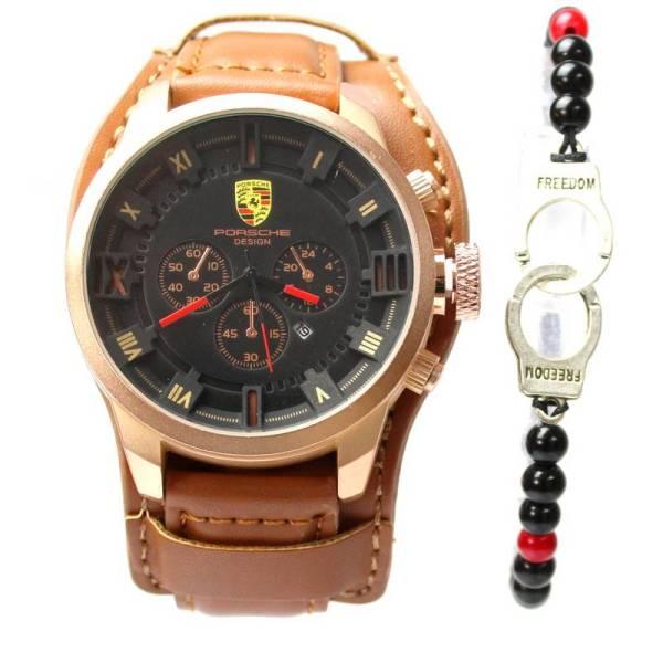 Montre Porsche interieur Noir Cuir Marron + Bracelet Maroc Commandez en ligne