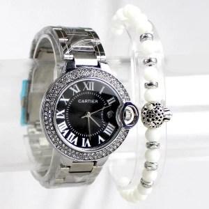 Montre Cartier Argenté Noir avec Bracelet Blanc