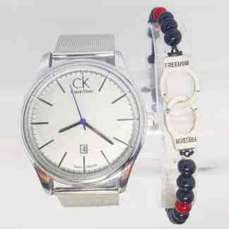 Montre Calvin Klein Argneté avec Bracelet Menotte -min