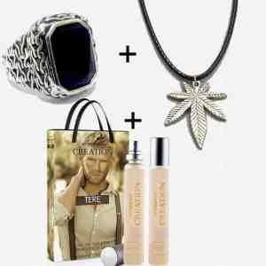 Parfum Importé de Turquie avec Collier Marijuana et Bague &