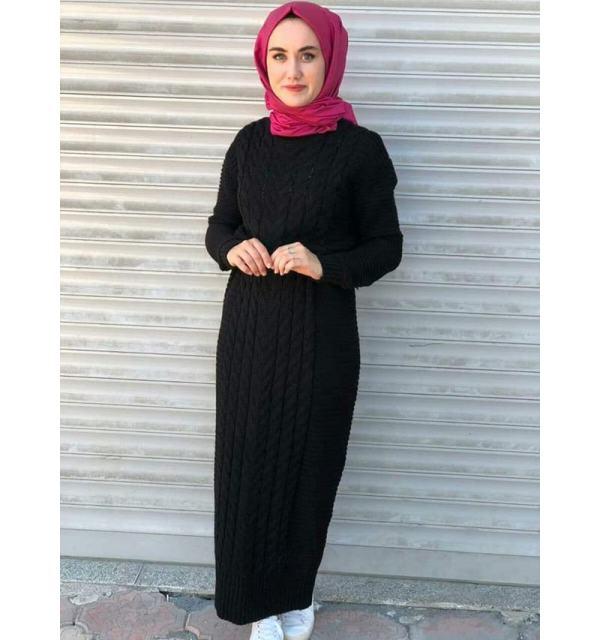 Robe longue tressé Noir Maroc