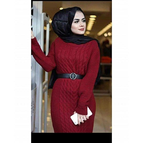 Robe longue tressé Rouge