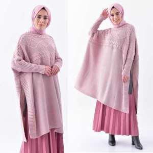 Tunique Pull longue en maille Cape Tricot Disponible en plusieurs couleurs Taille Standard couleur rose hijab