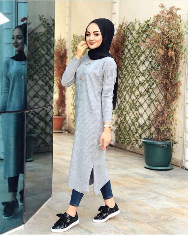 Tunique Pull longue en maille Tricot Maroc gris