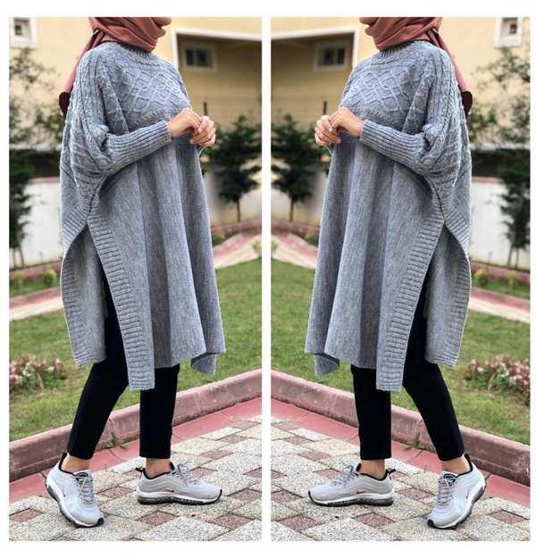 cape tricot femme maroc carreaux gris 1 - Tunique Pull longue en maille Tricot Disponible en plusieurs couleurs Taille Standard (Copie)