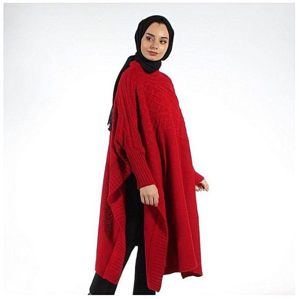 cape tricot femme maroc carreaux rouge