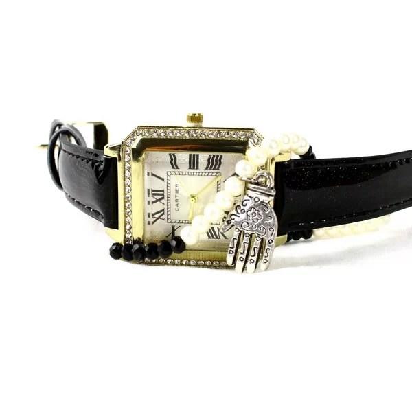 Montre Classique Noir avec Bracelet Khmissa