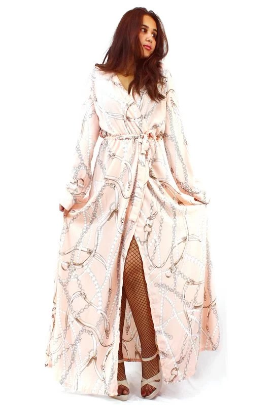 Robe Longue Chic Imprimé Chaines - Rose