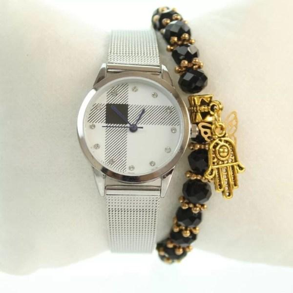 Montre Style Vintage Burberry avec Bracelet Khmissa Cadeau