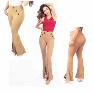 Pantalon à pattes d'éléphant Moulant - Jaune Moutarde