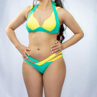 Maillot Bikini Sexy Brésil Vert Jaune