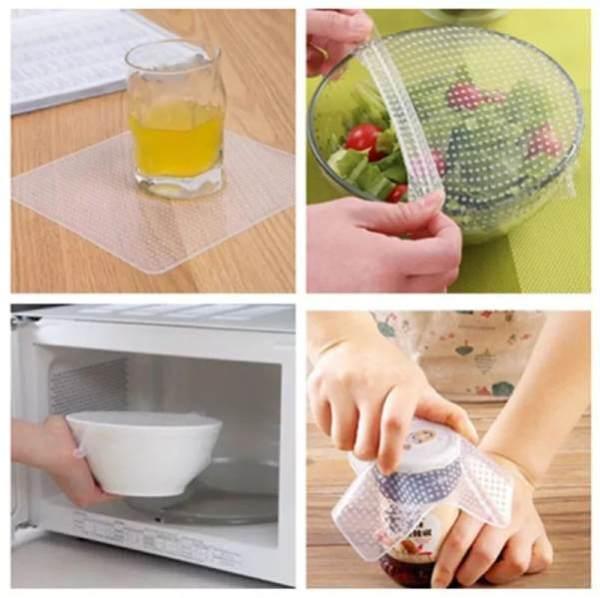 تغليف المواد الغذائية التي يعاد استخدامها والقابلة لإعادةPack 4 Films Alimentaire Réutilisable en Silicone pour Couverture Cuisine vente maroc