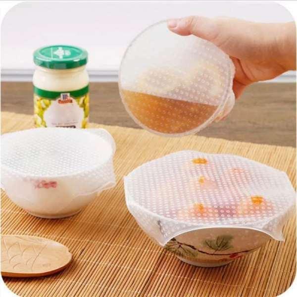 Pack 4 Films Alimentaire Réutilisable en Silicone pour Couverture Cuisine vente maroc تغليف المواد الغذائية التي يعاد استخدامها والقابلة لإعادة