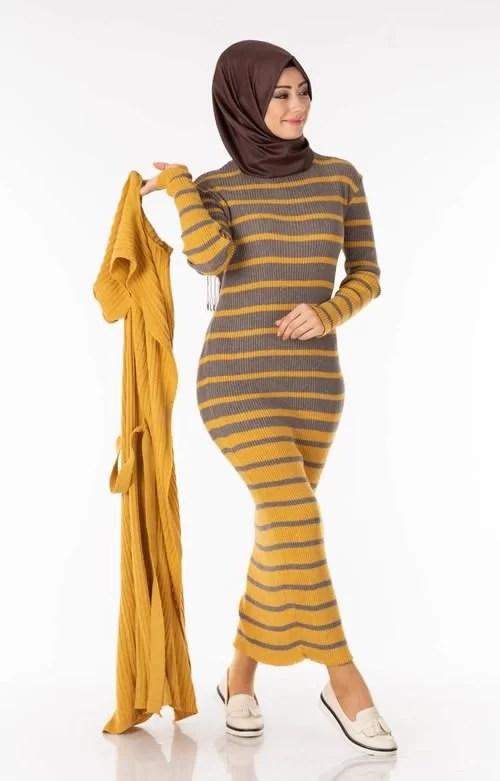 Ensemble 2 Pièces Longue Robe Tricot Rayé Gris Jaune avec Gilet - تريكو تركي أنصومبل 2 بياس Maroc ventement femme hijabe promo
