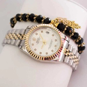 Montre Rolex date juste avec Bracelet khmissa noir promotion