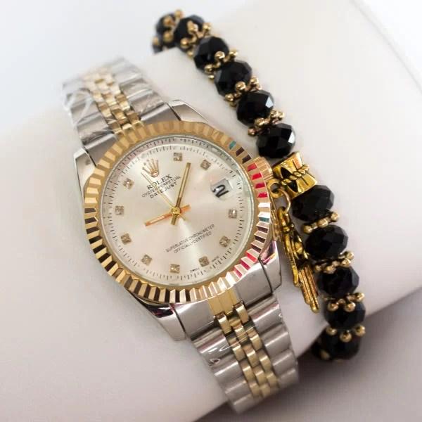 Montre Rolex date juste avec Bracelet khmissa noir