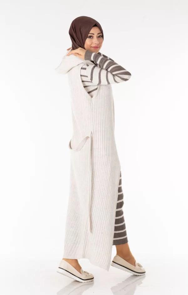 Ensemble 2 Pièces Longue Robe Tricot Rayé Gris Blanc avec Gilet - تريكو تركي أنصومبل 2 بياس ملابس maroc vente livraison