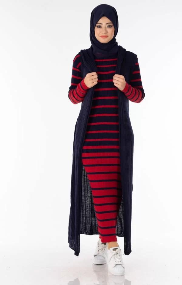 حوايج البرد Ensemble 2 Pièces Longue Robe Tricot Rayé Rouge Noir avec Gilet - تريكو تركي أنصومبل 2 بياس livraison maroc solde promo