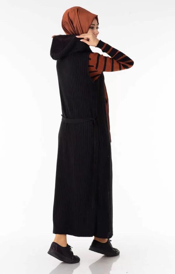 حوايج البرد Ensemble 2 Pièces Longue Robe Tricot Rayé Marron Noir avec Gilet - تريكو تركي أنصومبل 2 بياس vente en ligne maroc casablanca solde casa