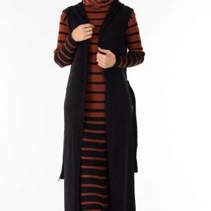 Ensemble 2 Pièces Longue Robe Tricot Rayé Marron Noir avec Gilet - تريكو تركي أنصومبل 2 بياس vente en ligne maroc casablanca solde promo