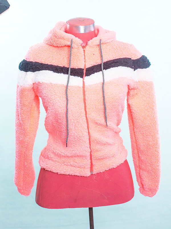 Sweat à Capuche en Peluche - Rose vetement femme maroc hivers mode
