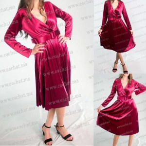 Robe Croisée Plissée En Velours (mobra) - Rouge Maroc Livraison Gratuite casablanca chic