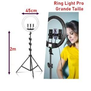 Ring light pro 45cm 3 telephone trepied 2m maroc casablanca derb ghallef rabat marrakech tanger puissance 70w