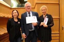 Julie & Caroline from Facebook with MHE President Nigel Henderson