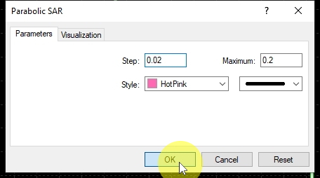 PSAR Indicator Settings I choose preferred settings for Parabolic SAR indicator and click OK. Useful read: How to Use Parabolic SAR