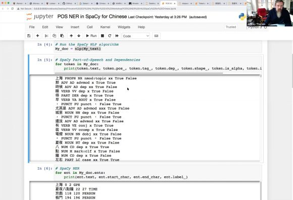 Screenshot showing output from code identifying parts of speech in a chinese novel.