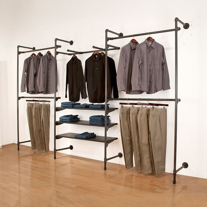 large pipe clothing rack wall mounted