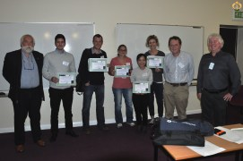 The prize winners for the best new investigator talks and best posters at the Inaugural meeting of the UK and Ireland Branches of the EAFP.