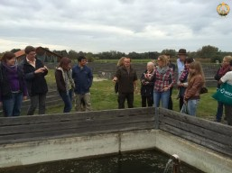 """Excursion the group visiting the experimental fish farm site """"LFU Wielenbach"""" in Wielenbach."""