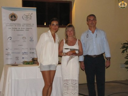 Jannicke Wiik-Nielsen receiving the best poster award by José Garcia (EAFP president) and Ivona Mladineo (EAFP meeting secretary). Picture courtesy of Giuseppe Paladini.