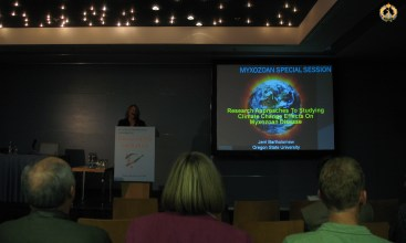 Dr Jerri Bartholomew at the Myxozoan workshop during the EAFP conference in Prague. Photo B.Gorgoglione.