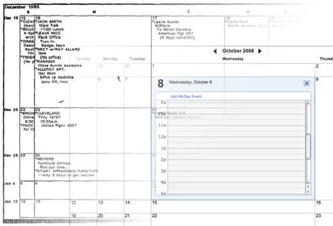Fisheye Calendar then and now