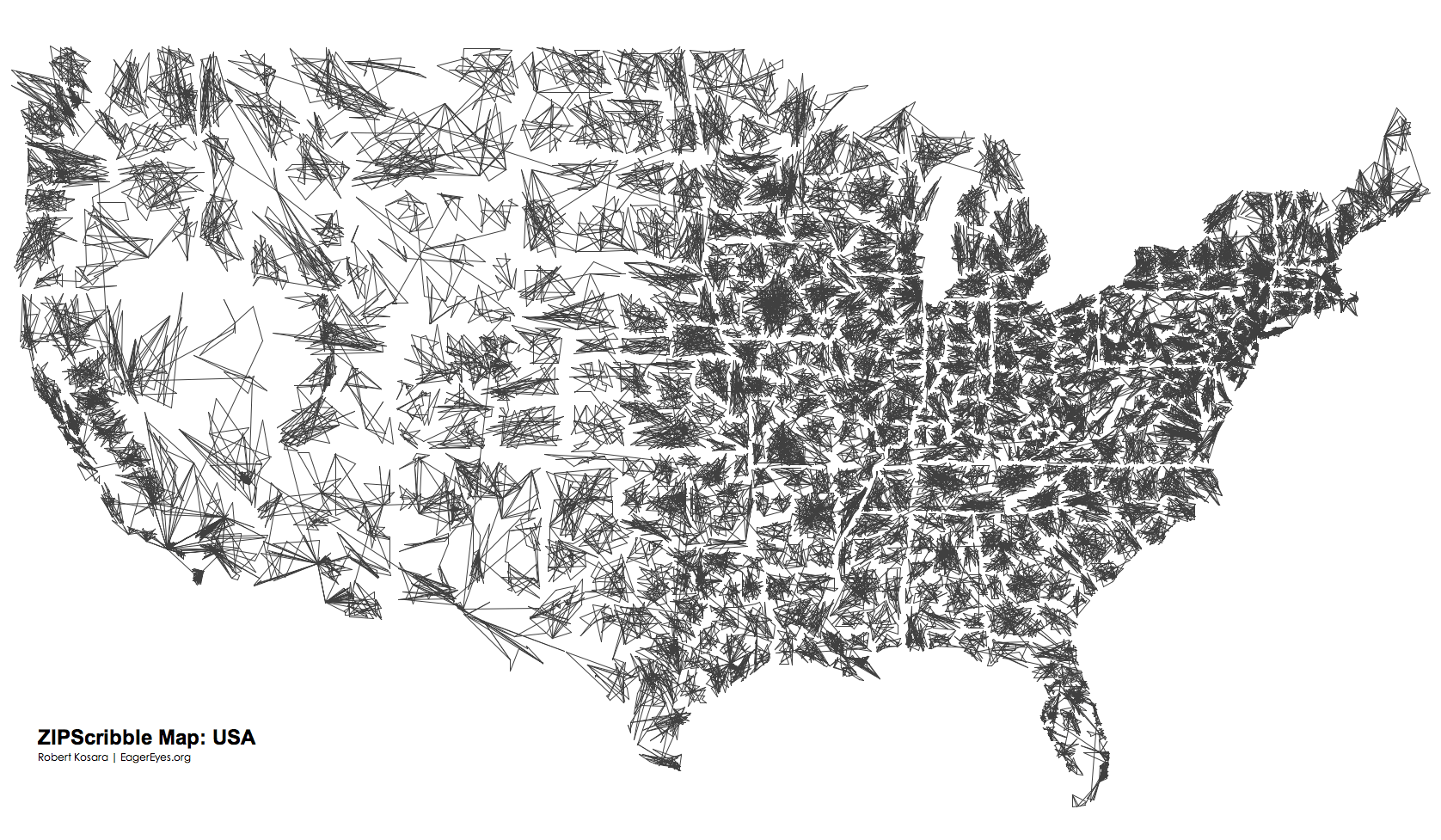 Scribble Map Of The Contiguous Us Drawn By Zipcode